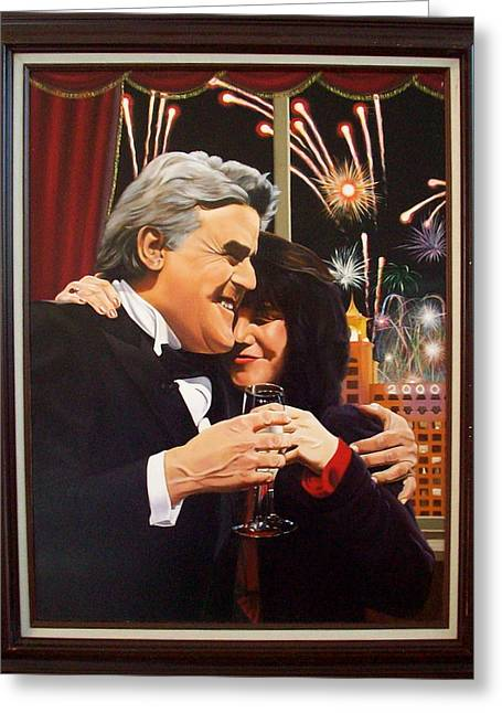 Jay Leno Portrait Greeting Cards - Jay Leno Y2K Greeting Card by Yechiel Abramov