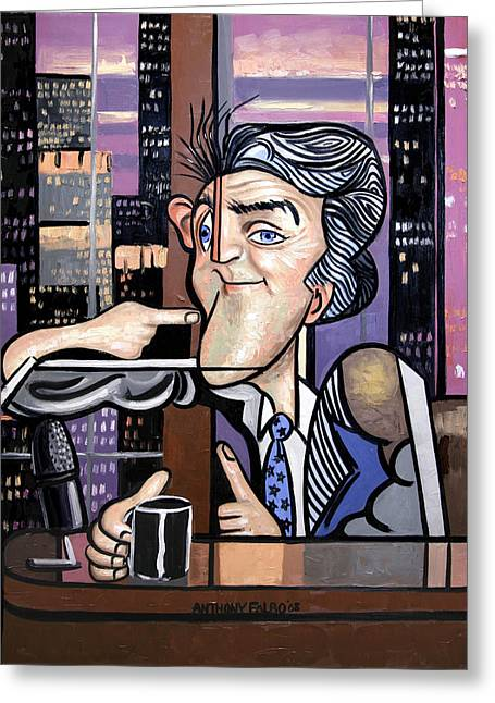 Tonight Greeting Cards - Jay Leno You Been Cubed Greeting Card by Anthony Falbo