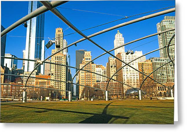 Chicago Loop Greeting Cards - Jay Pritzker Pavilion With City Skyline Greeting Card by Panoramic Images