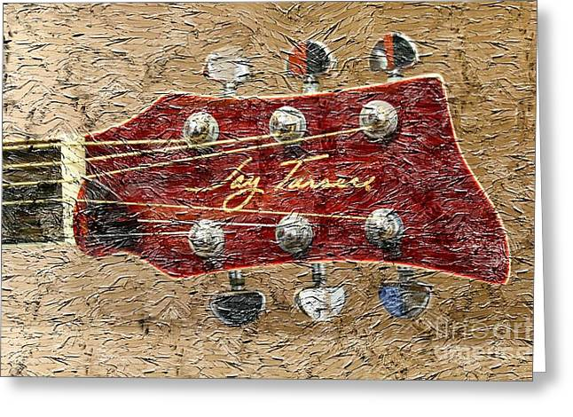 Best Sellers -  - Mahogany Red Greeting Cards - Jay Turser Guitar Head - Red Guitar - Digital Painting Greeting Card by Barbara Griffin