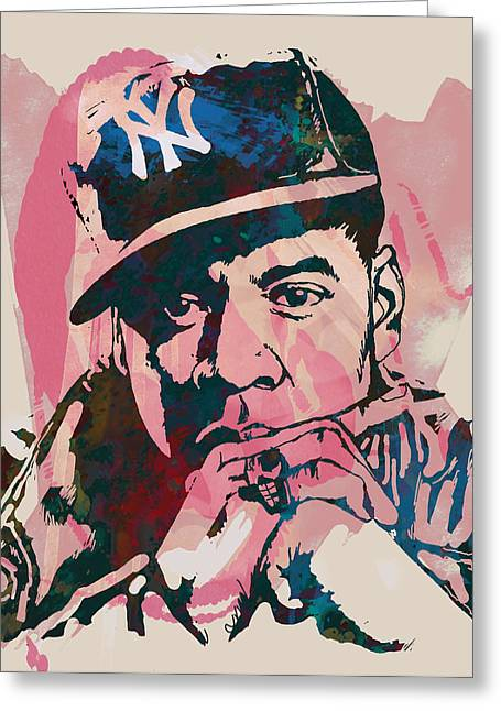 Carter Greeting Cards - Jay-Z Stylised Etching Pop Art Poster Greeting Card by Kim Wang