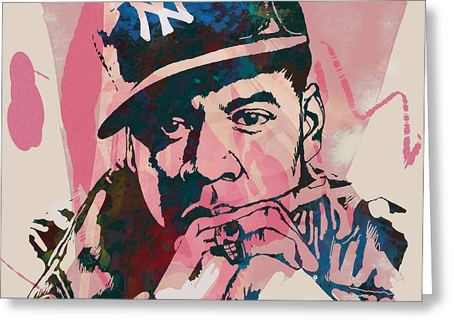Jay-Z Stylised Etching Pop Art Poster Greeting Card by Kim Wang