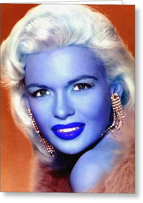 First Star Mixed Media Greeting Cards - Jayne Mansfield Greeting Card by Art Cinema Gallery