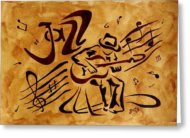 Singer Paintings Greeting Cards - Jazz Abstract Coffee Painting Greeting Card by Georgeta  Blanaru