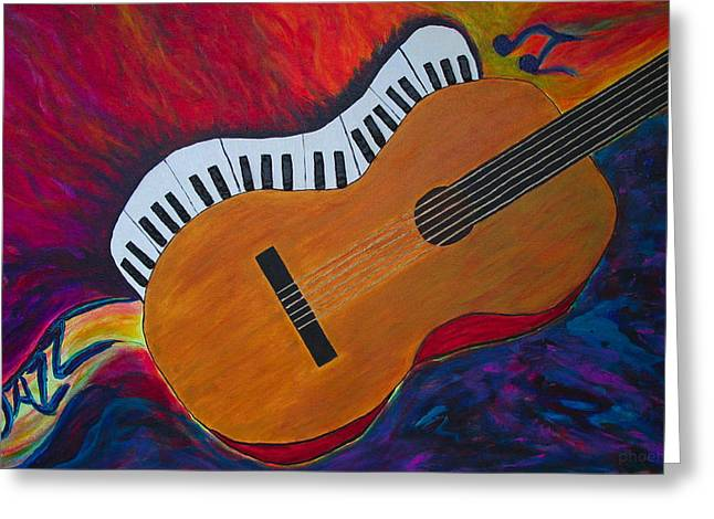 Santa Cruz Ca Paintings Greeting Cards - Jazz Alive Greeting Card by Phoenix The Moody Artist