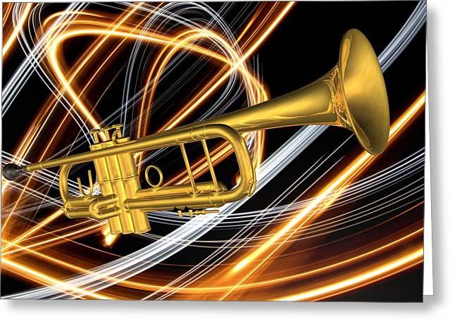 Fine_art Greeting Cards - Jazz Art Trumpet Greeting Card by Louis Ferreira