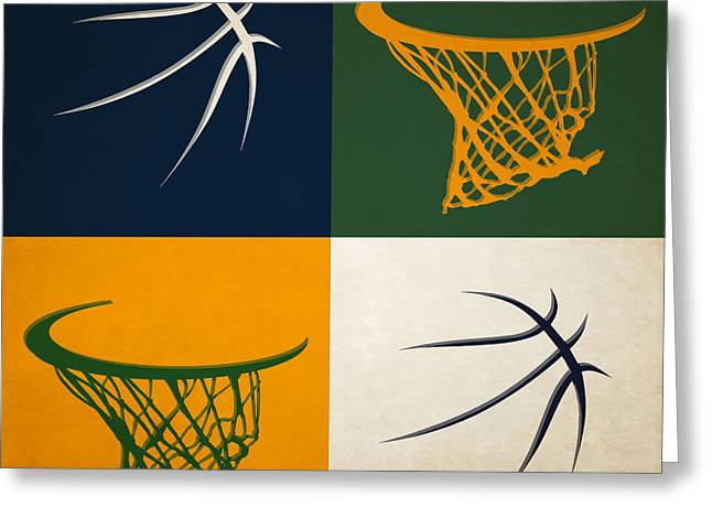 Basket Ball Greeting Cards - Jazz Ball And Hoops Greeting Card by Joe Hamilton