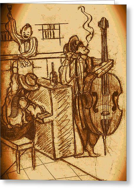 Superheroes Drawings Greeting Cards - Jazz Bar 1940s Greeting Card by Jazzboy
