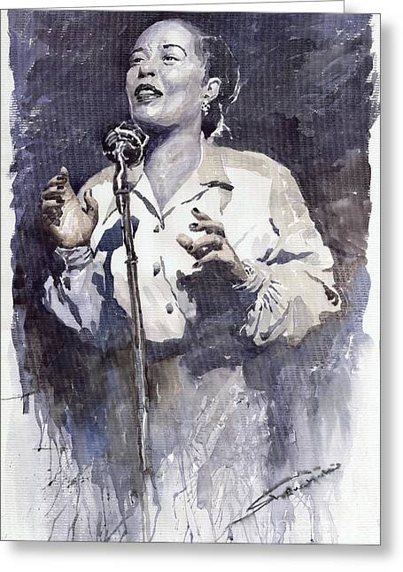 Jazz Billie Holiday Lady Sings The Blues Greeting Card by Yuriy  Shevchuk