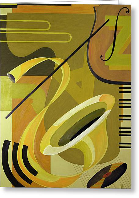 Clef Greeting Cards - Jazz Greeting Card by Carolyn Hubbard-Ford