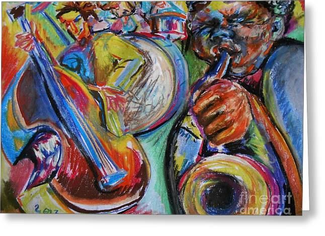 Horns Pastels Greeting Cards - Jazz Colors Greeting Card by Emily Michaud