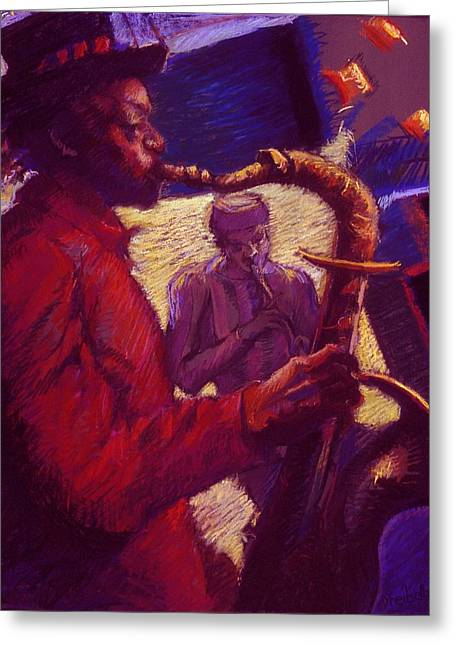 African-americans Pastels Greeting Cards - Jazz Duet Greeting Card by Ellen Dreibelbis