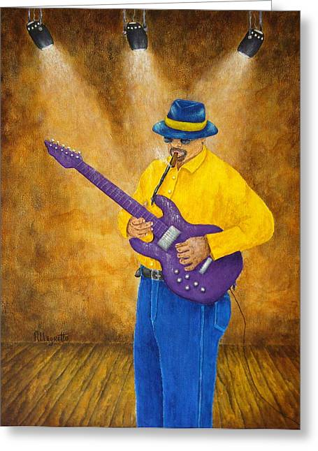 Pam Franz Greeting Cards - Jazz Guitar Man Greeting Card by Pamela Allegretto