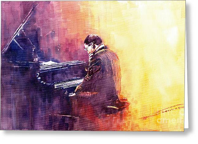 Jazz Pianist Greeting Cards - Jazz Herbie Hancock  Greeting Card by Yuriy  Shevchuk
