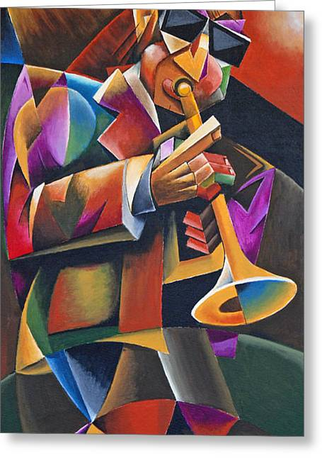 Jazz Horn Greeting Card by Bob Gregory