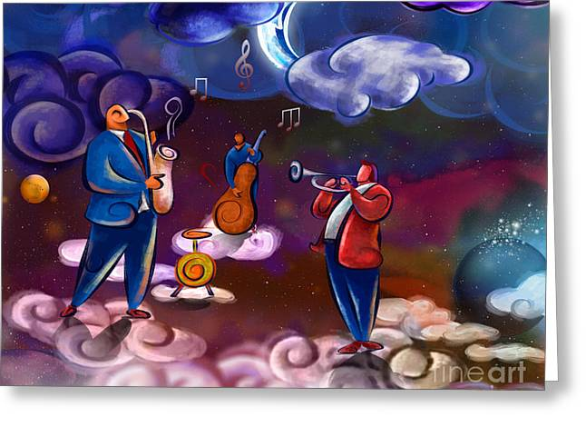 Haze Mixed Media Greeting Cards - Jazz In Heaven Greeting Card by Bedros Awak