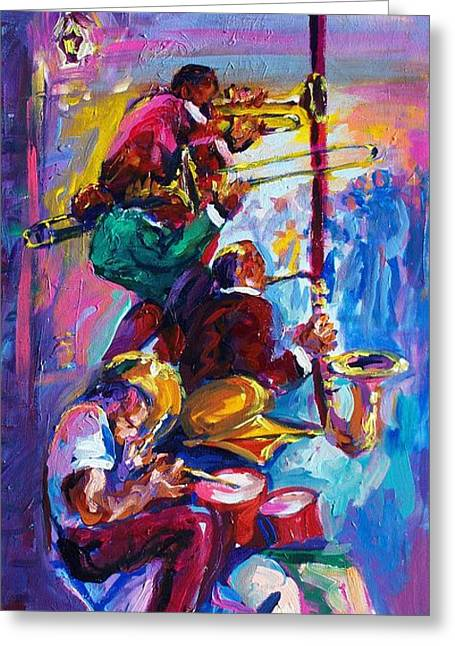 Zydeco Greeting Cards - Jazz in The Glow Greeting Card by Saundra Bolen Samuel