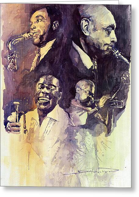 Parker Greeting Cards - Jazz Legends Parker Gillespie Armstrong  Greeting Card by Yuriy  Shevchuk