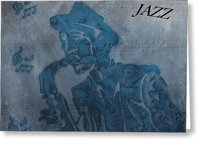 Playing Digital Greeting Cards - Jazz Man Greeting Card by Dan Sproul