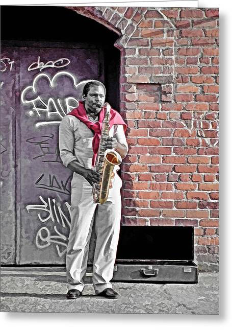 Playing Musical Instruments Mixed Media Greeting Cards - Jazz Man - Street Performer Greeting Card by Steve Ohlsen