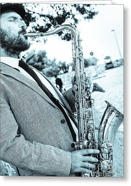 Playing Musical Instruments Greeting Cards - Jazz Musician Busker Playing Saxophone Greeting Card by Peter Noyce