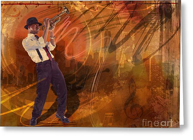 Heat Mixed Media Greeting Cards - Jazz NRG Greeting Card by Bedros Awak