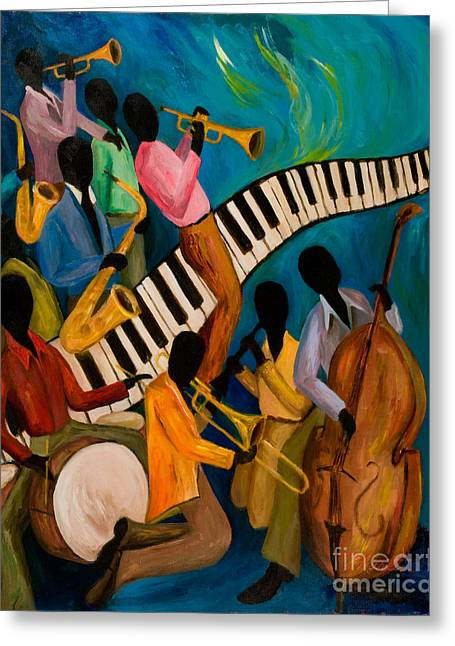 African-american Greeting Cards - Jazz on Fire Greeting Card by Larry Martin