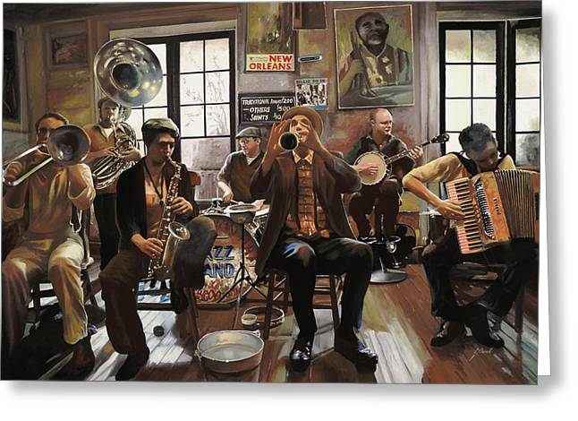New Greeting Cards - Jazz Orchestra Greeting Card by Guido Borelli