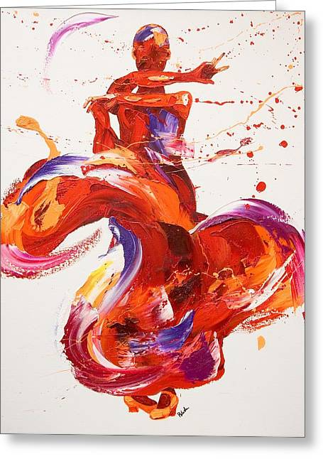 Spanish Dancer Greeting Cards - Jazz  Greeting Card by Penny Warden