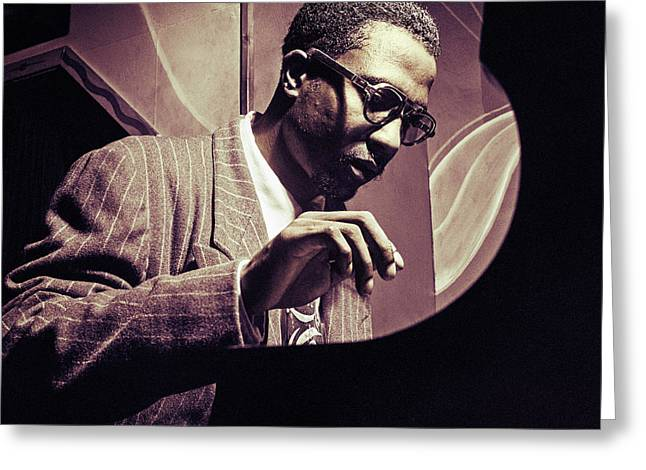 Recently Sold -  - ist Photographs Greeting Cards - Jazz Pianist Thelonious Monk Greeting Card by Carlos Lazurtegui