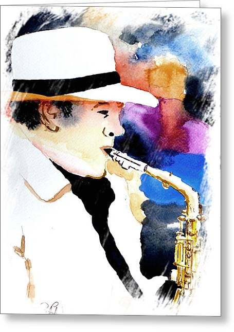 Eatoutdoors Greeting Cards - Jazz Player Greeting Card by Steven Ponsford