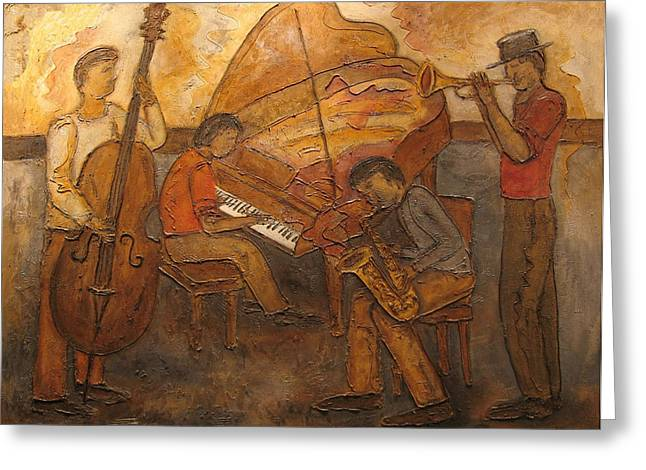 Jazz Quartet Greeting Card by Anita Burgermeister
