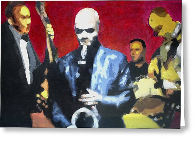 Quartet Paintings Greeting Cards - Jazz Quartet In A Tray Greeting Card by Charlie Harris