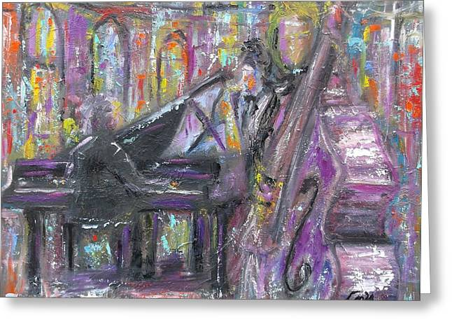 Pallet Knife Greeting Cards - Jazz Quartet Greeting Card by Joseph Love