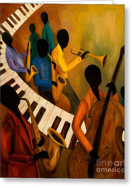 Jazz Quintet And Friends Greeting Card by Larry Martin