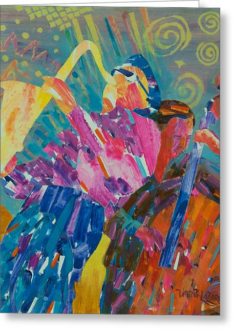 Coltrane Mixed Media Greeting Cards - JAZZ Ravi Coltrane Greeting Card by Gina Valenti-Lazarchik