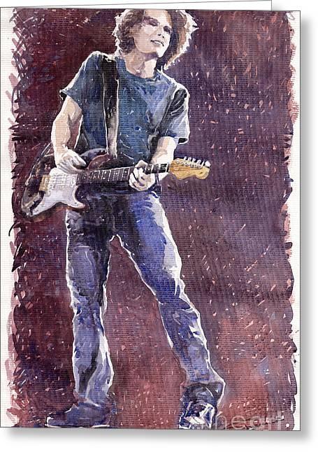 Figurative Greeting Cards - Jazz Rock John Mayer 01 Greeting Card by Yuriy  Shevchuk