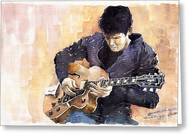 Impressionist Greeting Cards - Jazz Rock John Mayer 02 Greeting Card by Yuriy  Shevchuk