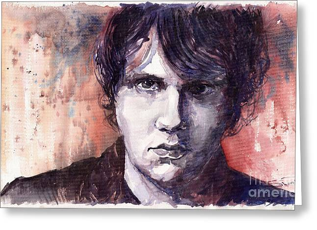 Watercolour Paintings Greeting Cards - Jazz Rock John Mayer Greeting Card by Yuriy  Shevchuk