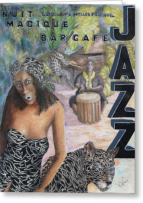 Night Cafe Mixed Media Greeting Cards - Jazz Greeting Card by Roy Kenen