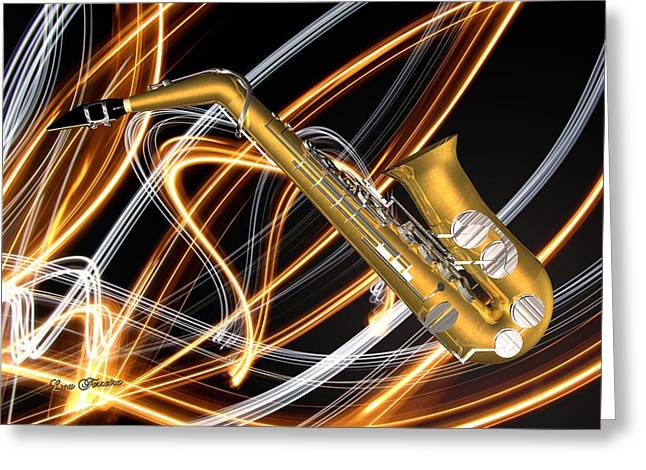 Jazz Saxaphone  Greeting Card by Louis Ferreira