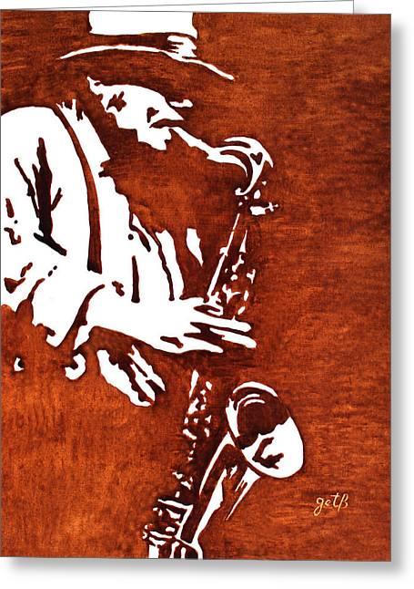 Jazz Player Greeting Cards - Jazz saxofon player coffee painting Greeting Card by Georgeta  Blanaru