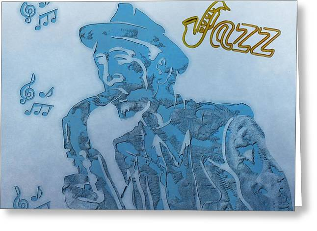 Jazz Saxophone Greeting Card by Dan Sproul