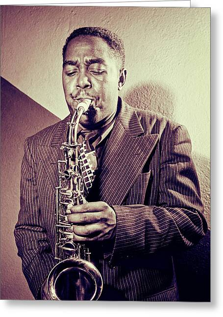 Recently Sold -  - ist Photographs Greeting Cards - Jazz Saxophonist Charlie Parker  Greeting Card by Carlos Lazurtegui