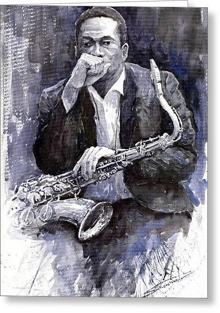 Instruments Greeting Cards - Jazz Saxophonist John Coltrane black Greeting Card by Yuriy  Shevchuk