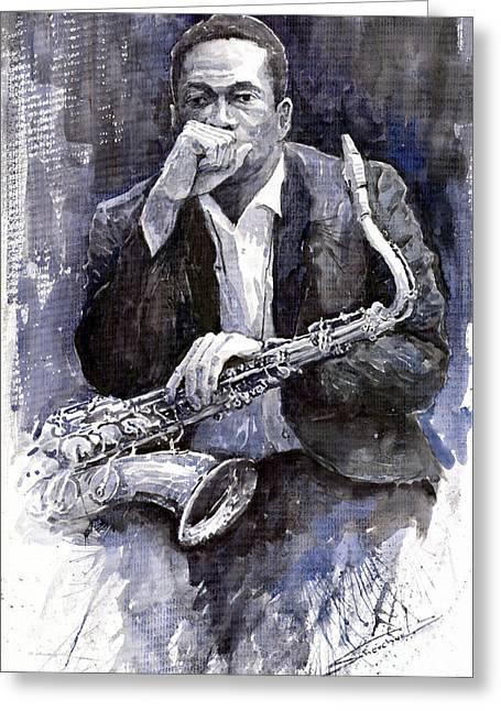 Jazz Saxophonist John Coltrane Black Greeting Card by Yuriy  Shevchuk