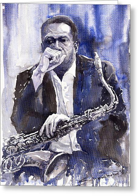 Star Greeting Cards - Jazz Saxophonist John Coltrane blue Greeting Card by Yuriy  Shevchuk