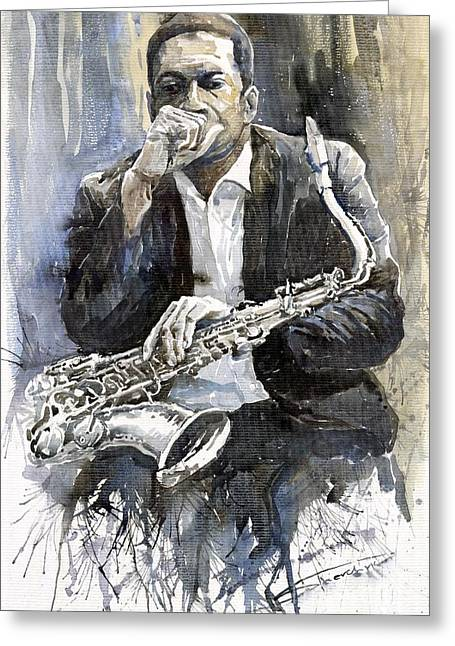 Instruments Greeting Cards - Jazz Saxophonist John Coltrane yellow Greeting Card by Yuriy  Shevchuk