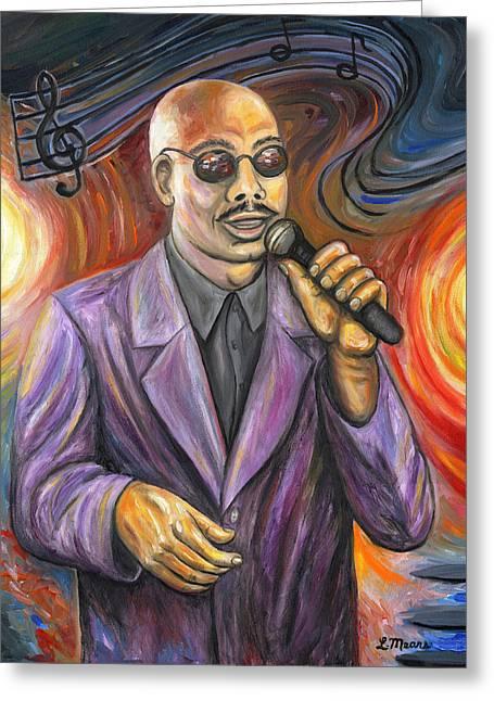 Jazz Singer Greeting Card by Linda Mears