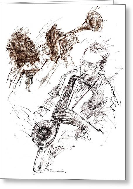 Session Musician Greeting Cards - JAZZ-sketch Greeting Card by Youri Ivanov